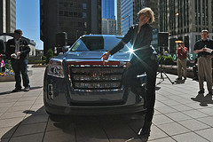 Liz Strauss SHowing Off Mark Horvath's New GMC...