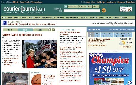 Courier-Journal beta site screen capture