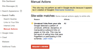 Google Webmaster manual actions page shows if you've been manually penalized.