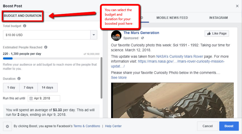 Boost Facebook Image ad budget