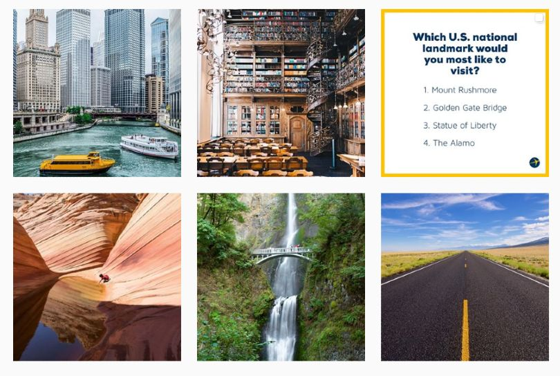 Another option is to use a consistent type of picture. As another example, Expedia uses a variety of distinct views of different worldly wonders.