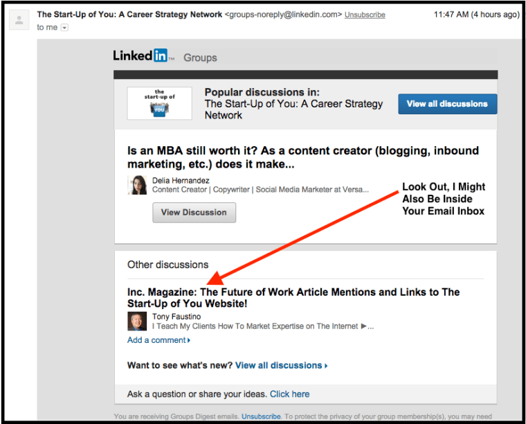 LinkedIn Screen Shot Social Media ReInvention in LinkedIn Groups Email