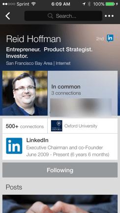 Reid Hoffman LinkedIn Profile Tony Faustino LinkedIn Mobile App