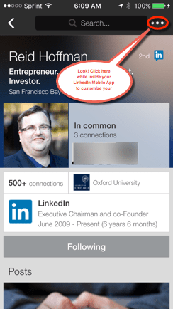 More Button Top Right Hand Corner LinkedIn Member Profile