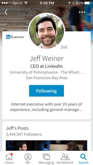 Jeff Weiner LinkedIn Mobile App Profile