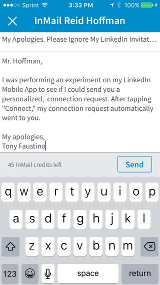 LinkedIn InMail Apology Note Reid Hoffman