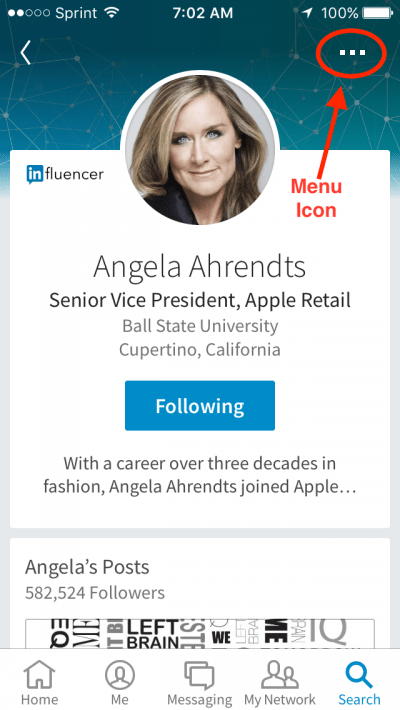 Menu Icon LinkedIn Mobile App
