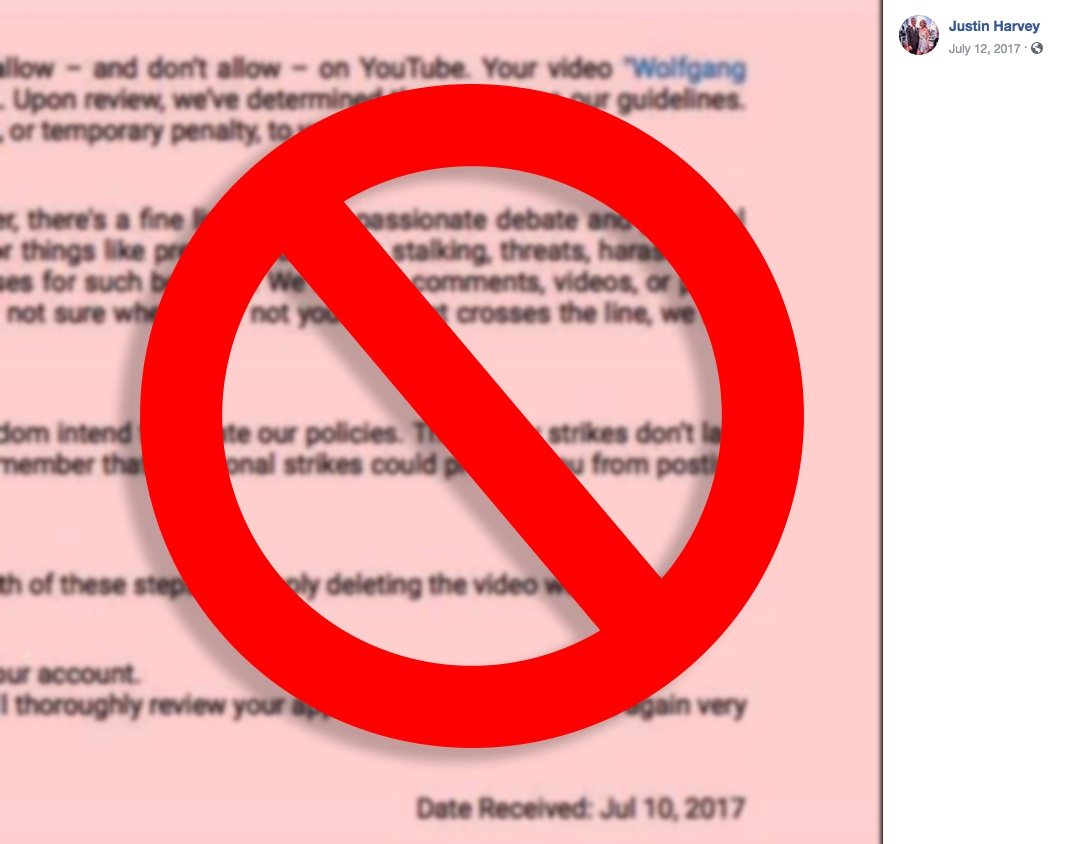 Justin Harvey - Facebook post about YouTube Community Guidelines strike