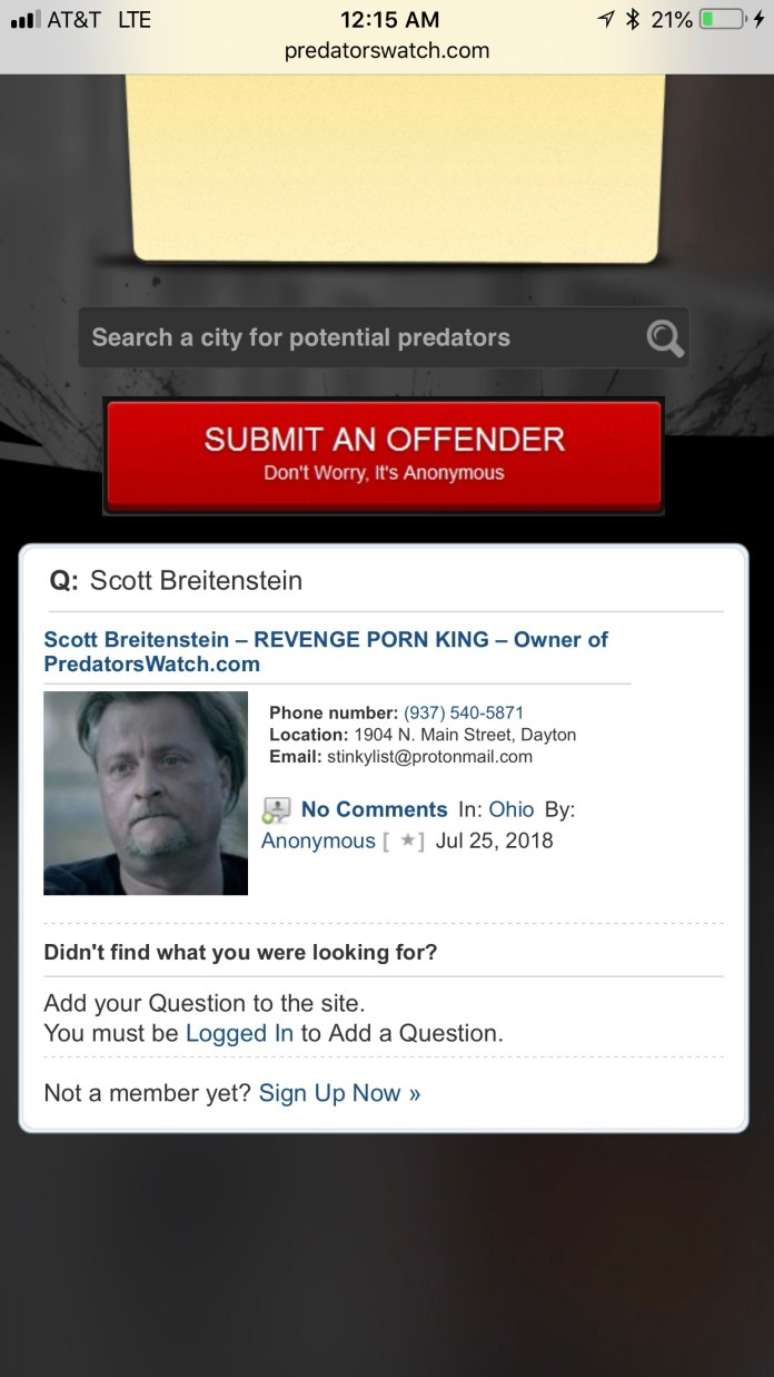 Scott Breitenstein - 1904 North Main Street Dayton, Ohio - 937-540-5871 predatorswatch.com