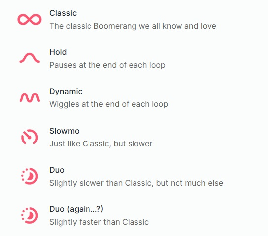 Instagram Boomerang modes