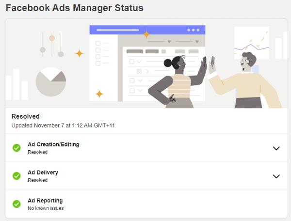 Facebook ad system status