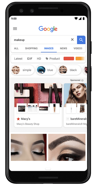 An example of Google's Showcase Shopping ads in Google Image Search