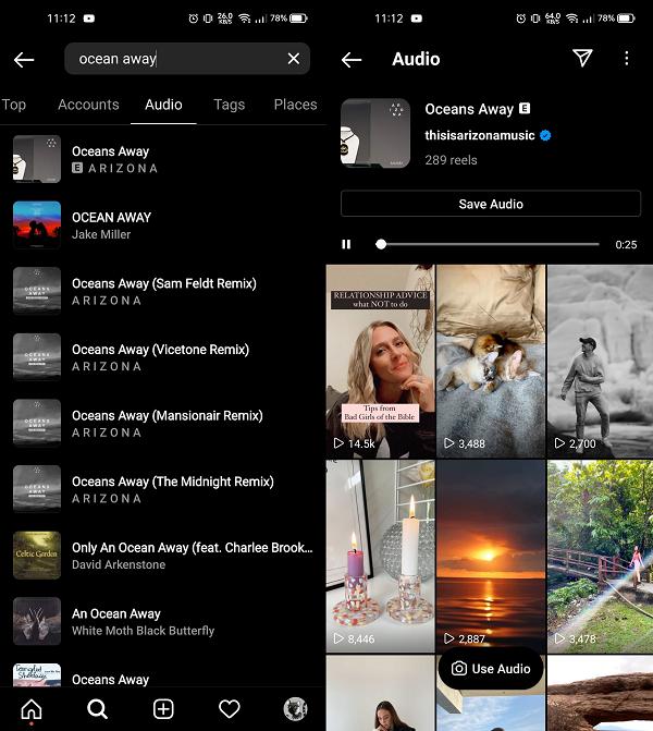 Onglet audio Instagram dans Explorer