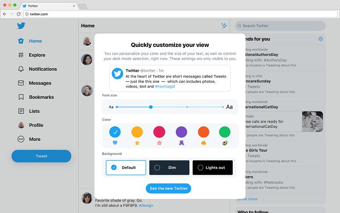 Configuración de personalización de Twitter