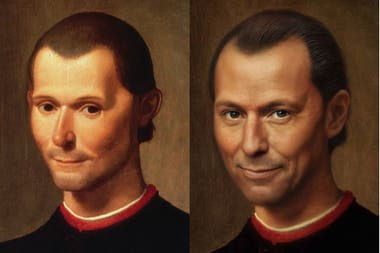 Nicolás Maquiavelo según el retrato que hizo Santi di Tito a fin del siglo XVI, y la reconstrucción que hizo Bas Uterwijk