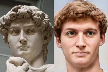 El David de Miguel Angel y el probable aspecto que quizá tuvo el modelo que usó el artista