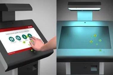 El módulo EXO Auto Cleaner utiliza un sistema con luz UV-C que sanitiza de forma rápida y automática la pantalla táctil de un servicio de autogestión