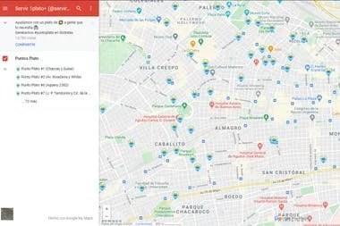 """El mapa de los """"punto platos"""" donde se pude acercar comida"""