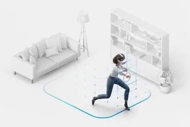 Los Oculus Quest 2 permiten definir una zona segura de movimiento, y avisarán cuando nos salgamos de ella; otros modelos requerían poner balizas, pero ahora no es necesario