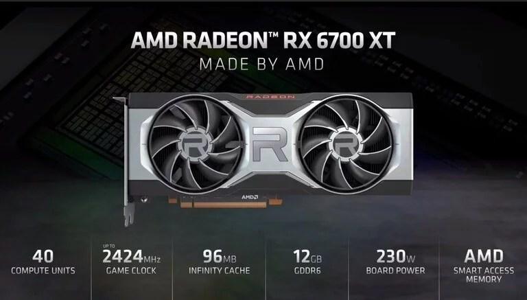 Las características de hardware de la nueva placa Radeon RX6700 XT de AMD