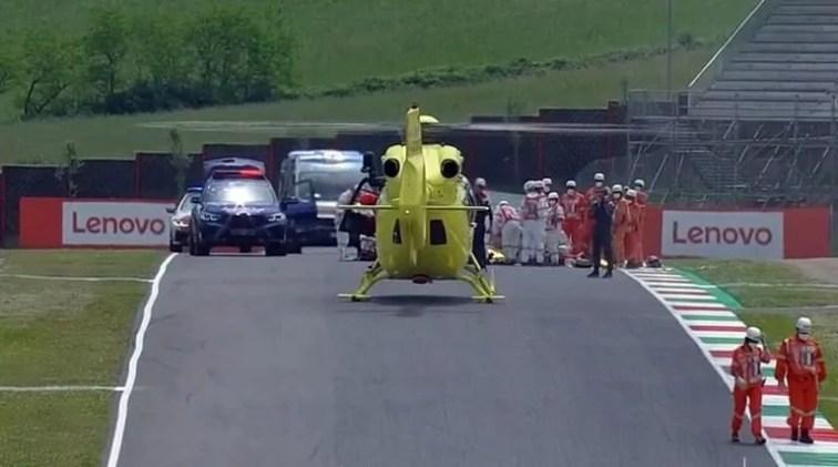 Llega el helicoptero al Circuito de Mugello para llevarse a Dupasquier