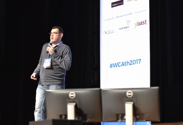 Social Mind on stage at WordCamp Athens 2017