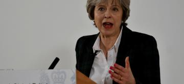 "(170117) -- LONDON, Jan. 17, 2017 (Xinhua) -- Britain's Prime Minister Theresa May delivers her keynote ""Brexit speech"" in Lancaster House in London, Britain on Jan. 17, 2017. British Prime Minister Theresa May on Tuesday confirmed that Britain will be leaving the single market while insisting that it wants to remain ""the best friend and neighbor"" to European partner. (Xinhua) (EDITORIAL USE ONLY) (UK OUT)"