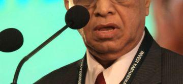Bengaluru: Infosys co-founder NR Narayana Murthy addresses during the inauguration of the `Invest Karnataka 2016` Global Investors Meet in Bengaluru on Feb. 3, 2016. (Photo: IANS)