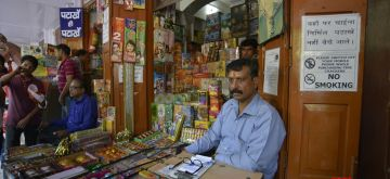 New Delhi: Firecrackers being sold at a Jama Masjid market in Delhi on Oct 9, 2017. The Supreme Court on 9th October ruled that there will be no sale of firecrackers during Diwali, as it restored a November 2016 order banning the sale and stocking of firecrackers in Delhi and National Capital Region. (Photo: IANS)