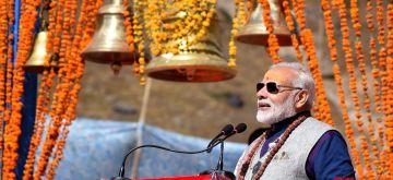 Kedarnath: Prime Minister Narendra Modi addresses a public meeting at Kedarnath, in Uttarakhand on Oct 20, 2017. (Photo: IANS/PIB)