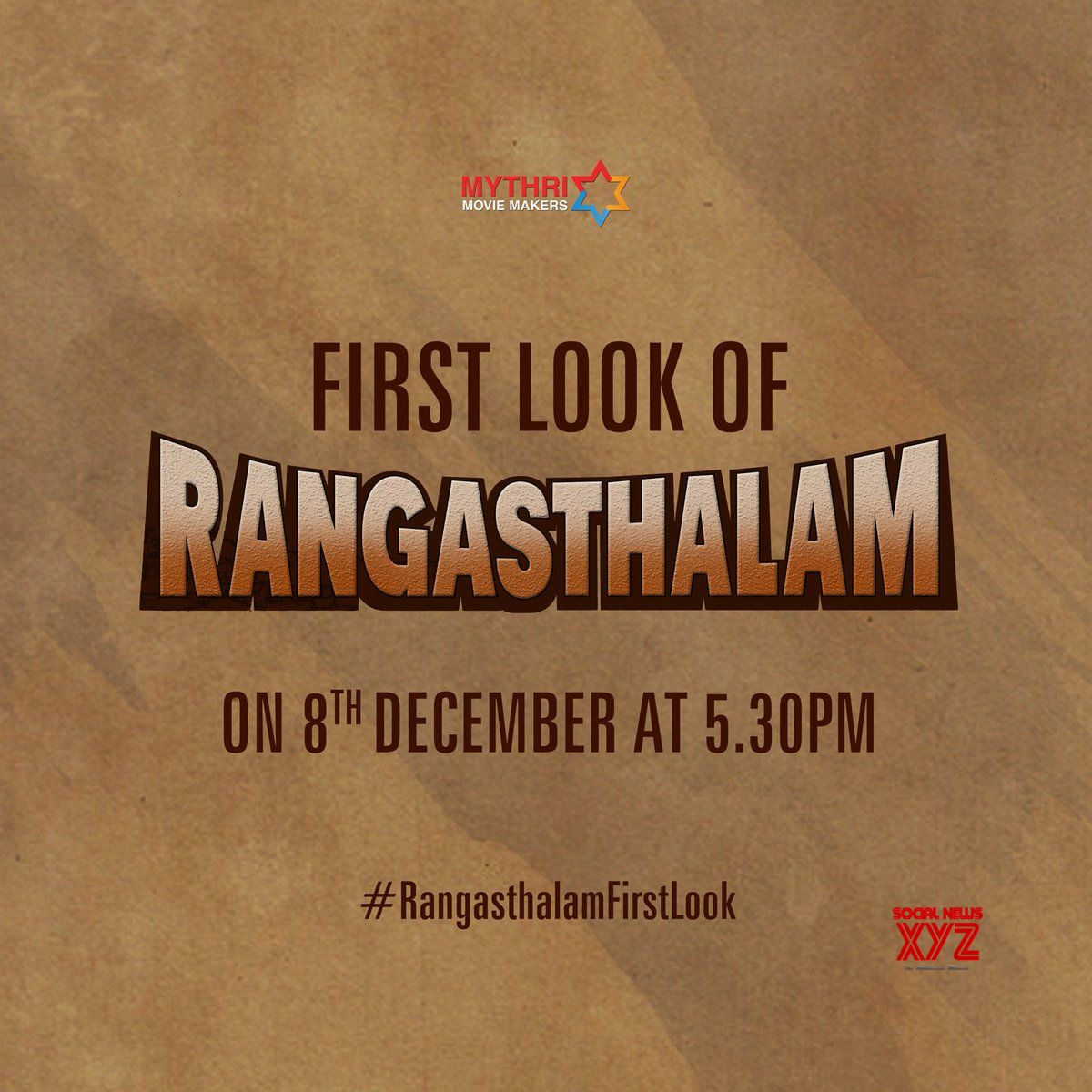 Rangasthalam First Look on December 8th at 5:30 PM