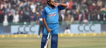 Indian captain Rohit Sharma celebrates his third ODI double century during the second One Day International (ODI) match between India and Sri Lanka at Punjab Cricket Association IS Bindra Stadium in Mohali on Dec 13, 2017. (Photo: Surjeet Yadav/IANS)