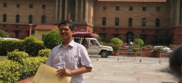New Delhi: IPS officer Amitabh Thakur, who was allegedly threatened by Samajwadi Party supremo Mulayam Singh Yadav comes out Home Ministry in New Delhi, on July 13, 2015. (Photo: IANS)