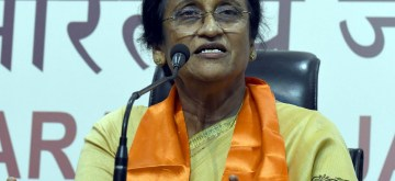 Congress leader Rita Bahuguna Joshi addresses a press conference after joining BJP in presence of BJP chief Amit Shah in New Delhi, on Oct 20, 2016. (Photo: IANS)