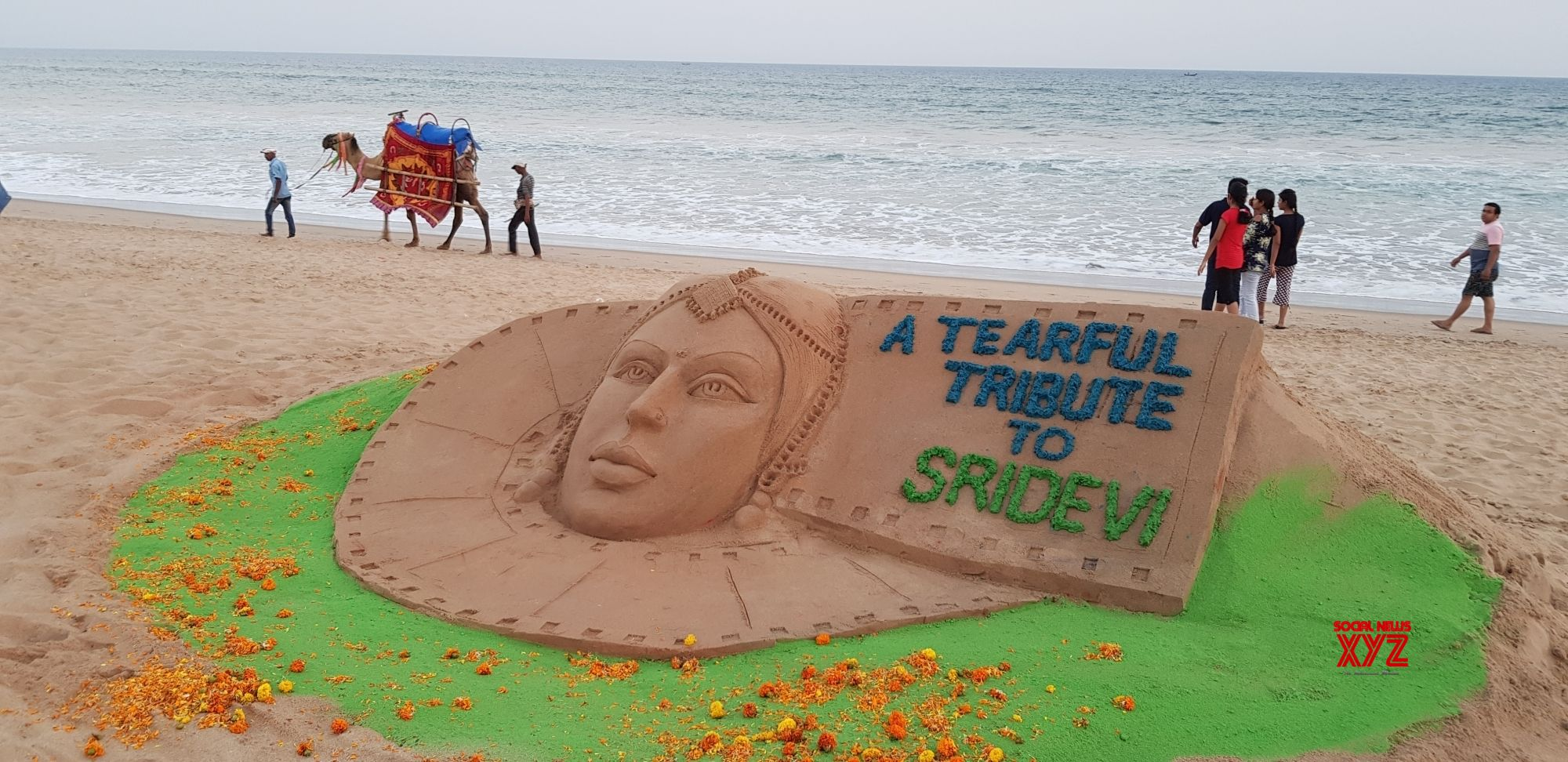 Puri: Sand artist Manas Sahoo's creation to pay tribute to late actress Sridevi at Puri beach, Odisha on Feb 25, 2018. (Photo: IANS)