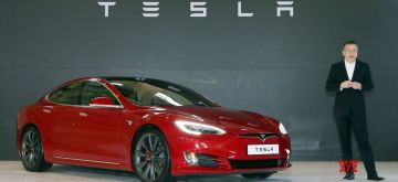 Gimpo: This photo shows the Tesla Model S P100D being introduced at an event in Gimpo, Gyeonggi Province, on Feb. 26, 2018.(Yonhap/IANS)