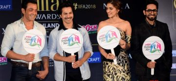 Mumbai: Actors Bobby Deol, Varun Dhawan, Kriti Sanon and Ayushmann Khurrana during a press conference of the 19thEdition of IIFA in Mumbai on June 12, 2018. (Photo: IANS)