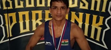Belgrade: Indian Boxer Himanshu Sharman who won Gold in the 49 kg category at the 56th Belgrade Winners Boxing Championship strikes a pose after the medal ceremony in Serbia on April 29, 2018. (Photo: IANS)