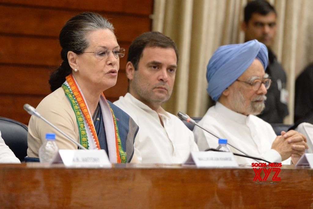 New Delhi: UPA Chairperson and Congress leader Sonia Gandhi, Congress President Rahul Gandhi and party leader Manmohan Singh at the Congress Working Committee (CWC) meeting, in New Delhi, on July 22, 2018. (Photo: IANS)