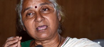 Bhopal: Social activist Medha Patkar addresses a press conference in Bhopal, on Oct 16, 2017. (Photo: IANS)