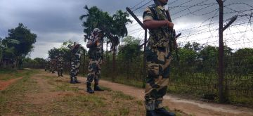 Agartala: Border Security Force troopers guard India's border with Bangladesh, ahead of the Independence Day 2018, in Agartala, on  Aug 13, 2018. Indian authorities have asked security forces to increase vigil along the international borders with Bangladesh and Myanmar. (Photo: IANS)