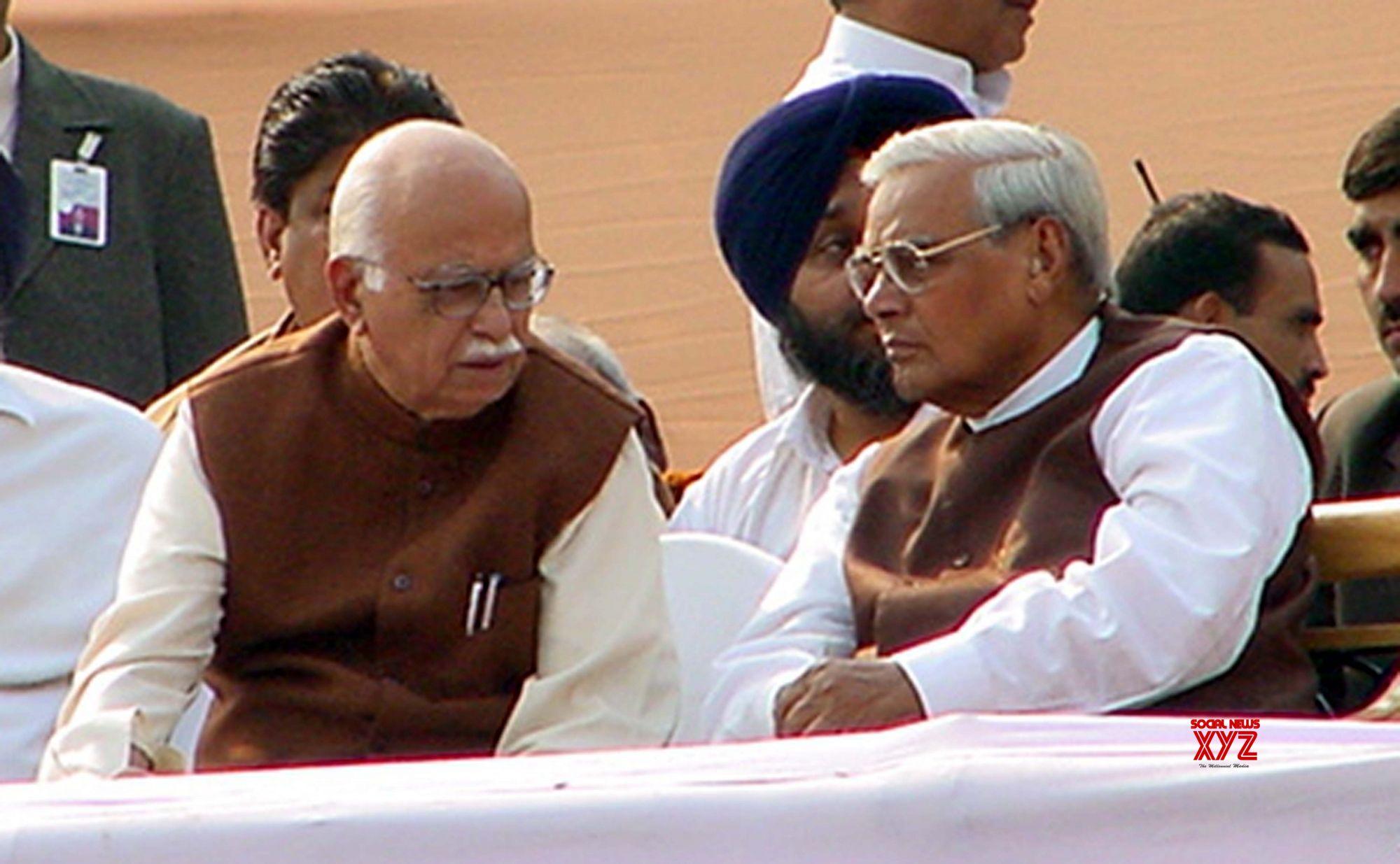 Atal Bihari Vajpayee with L.K. Advani at Bihar Chief Minister Nitish Kumar's swearing-in ceremony in Patna. (Photo: File Photo: IANS)