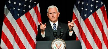 (180810) -- WASHINGTON, Aug. 10, 2018 (Xinhua) -- U.S. Vice President Mike Pence speaks during an announcement of the Trump Administration's plan to establish the U.S. Space Force by year 2020 at the Pentagon, Virginia, the United States on Aug. 9, 2018. U.S. Vice President Mike Pence said Thursday that the United States plans to establish a Space Force by 2020, an idea floated by President Donald Trump and questioned by many top officers at the Pentagon. (Xinhua/Ting Shen) (qxy)