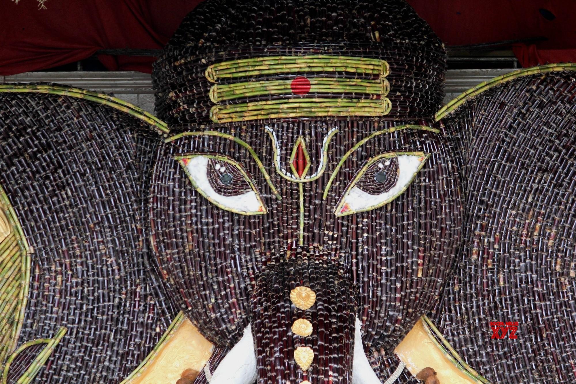 Bengaluru devotees decorated Lord Ganesha with sugarcane