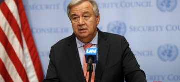 """UNITED NATIONS, Sept. 11, 2018 (Xinhua) -- United Nations Secretary-General Antonio Guterres speaks during a press encounter at the UN headquarters in New York, Sept. 11, 2018. Antonio Guterres said Tuesday that it is """"absolutely essential"""" to avoid a full-scale attack on Syria's Idlib, the last major rebel stronghold in the country. (Xinhua/Li Muzi/IANS)"""