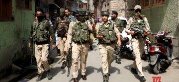Srinagar: Security beefed up in Srinagar where two National Conference (NC) workers were shot dead and another critically injured after militants opened fire on them in Karfali Mohalla of the city on Oct 5, 2018..(Photo: IANS)