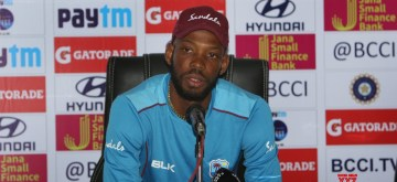 Hyderabad: Roston Chase of West Indies addresses a press conference on the eve of the second test match against India at the Rajiv Gandhi International Cricket Stadium, in Hyderabad on Oct 11, 2018. (Photo: Surjeet Yadav/IANS)
