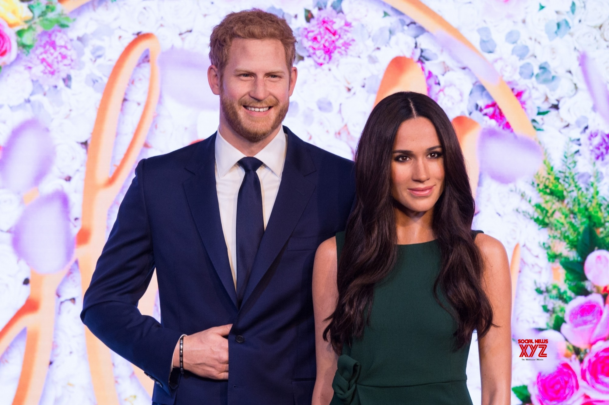 LONDON, May 9, 2018 (Xinhua) -- Photo taken on May 9, 2018 shows wax figures of Meghan Markle and Prince Harry at Madame Tussauds in London, Britain. A new wax figure of Meghan Markle was unveiled ahead of her wedding to Prince Harry on May 19 at Madame Tussauds London on Wednesday. (Xinhua/Ray Tang/IANS)