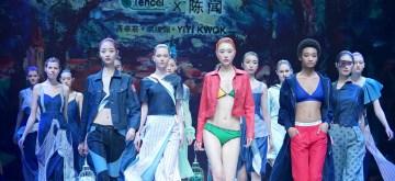 (181026) -- BEIJING, Oct. 26, 2018 (Xinhua) -- Models present tencel fashion creations during the China Fashion Week S/S 2019 in Beijing, capital of China, Oct. 26, 2018. Fashion creations designed by Chen Wen, members of Chen Wen fashion art studio, and designers Jiang Zhuojun, Hong Huangmei and Yiyi Kwok were displayed at the show.  (Xinhua/Chen Jianli)(mcg)