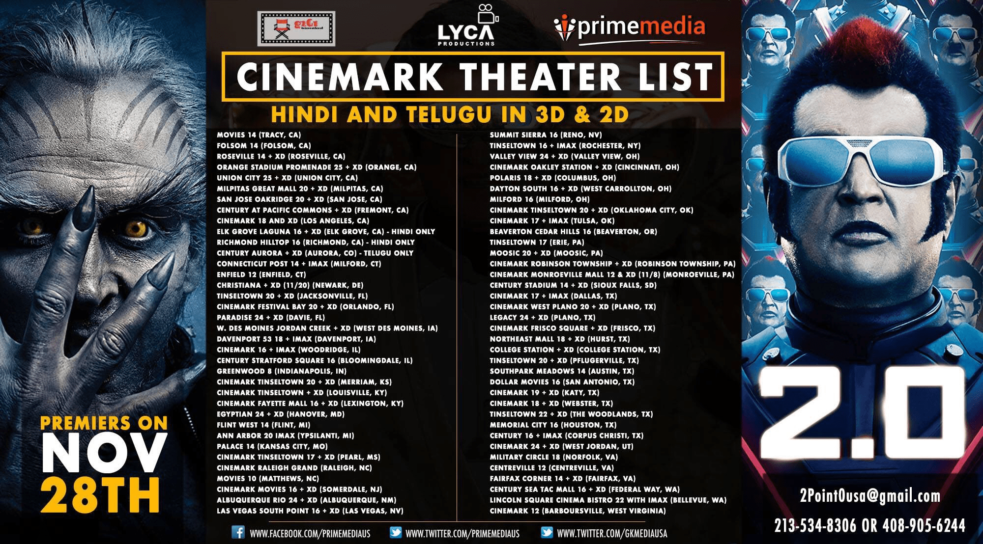 2 0 Movie USA Cinemark Theatres List - Social News XYZ